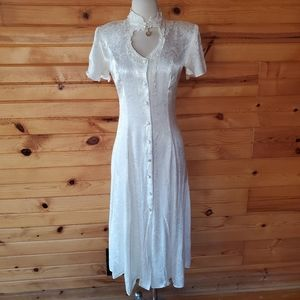 1980s Benson and Smith White Floral Embossed Dress